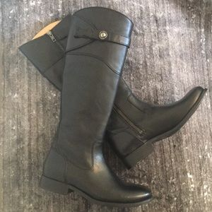 NWOT Frye Molly Black Leather Riding Boots